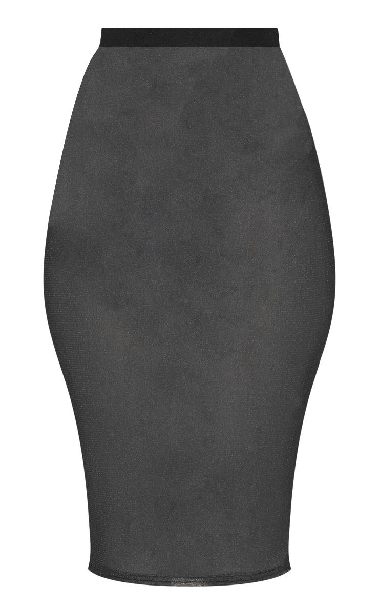 Black Metallic Mesh Midi Skirt  3