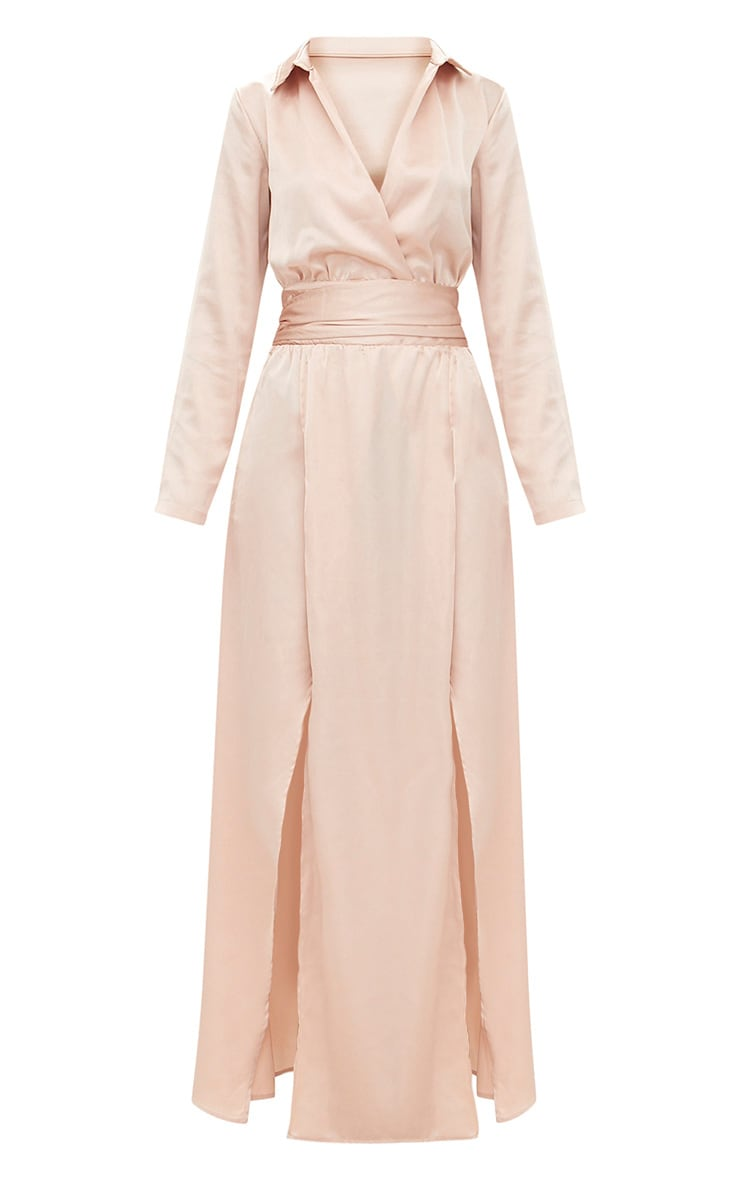 Champagne Long Sleeve Satin Belt Detail Maxi Dress 3
