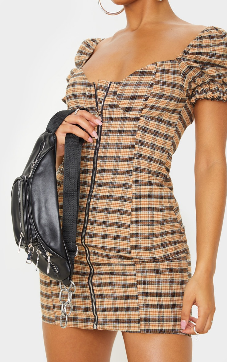 Beige Check Puff Sleeve Zip Front Shift Dress 5