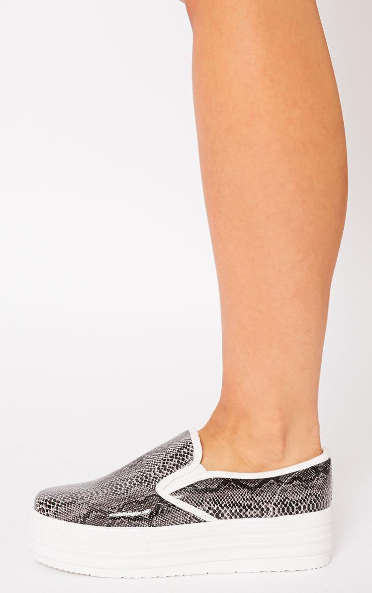 Katey Black Snake Flatform Skater Shoes 2