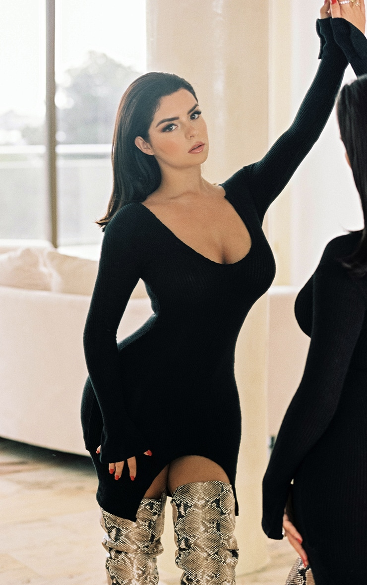 Shape Black Brushed Rib Split Sleeve Bodycon Dress