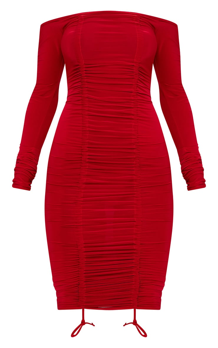 Red Bardot Ruched Slinky Midi Dress 3