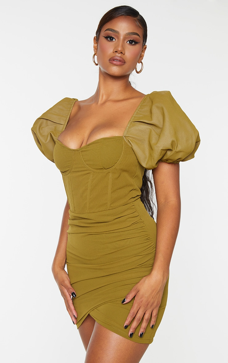 Olive Binding Detail Ruched Hem Bodycon Dress 1