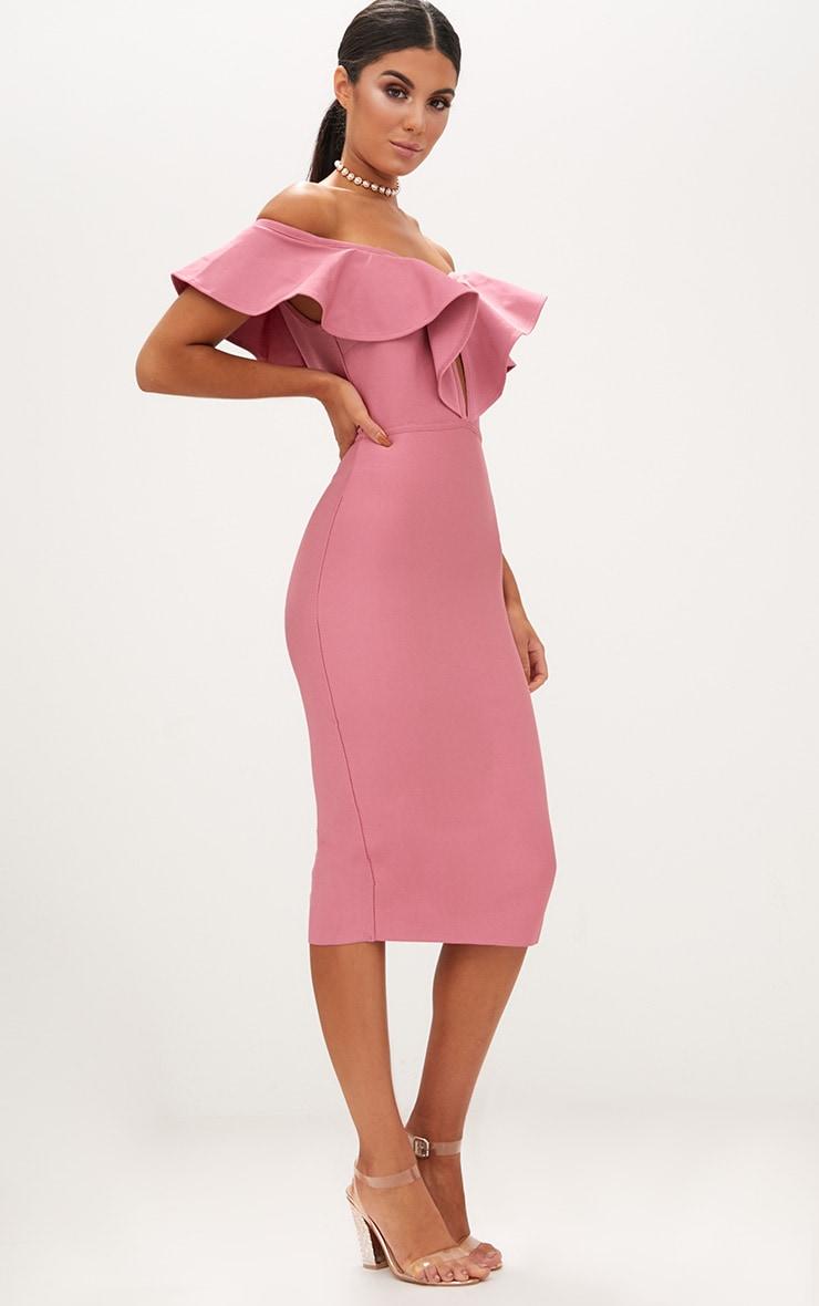 Rose Bardot Frill Lattice Detail Midi Dress 4