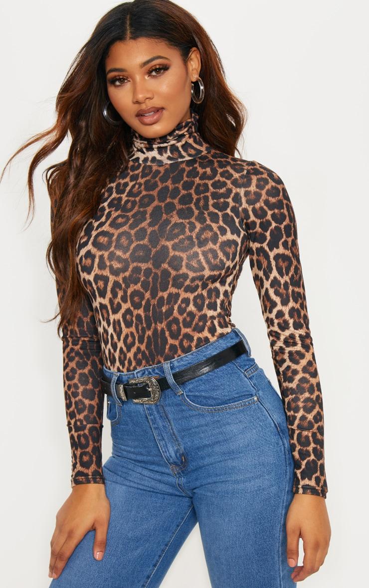 Body col roulé à imprimé léopard 5