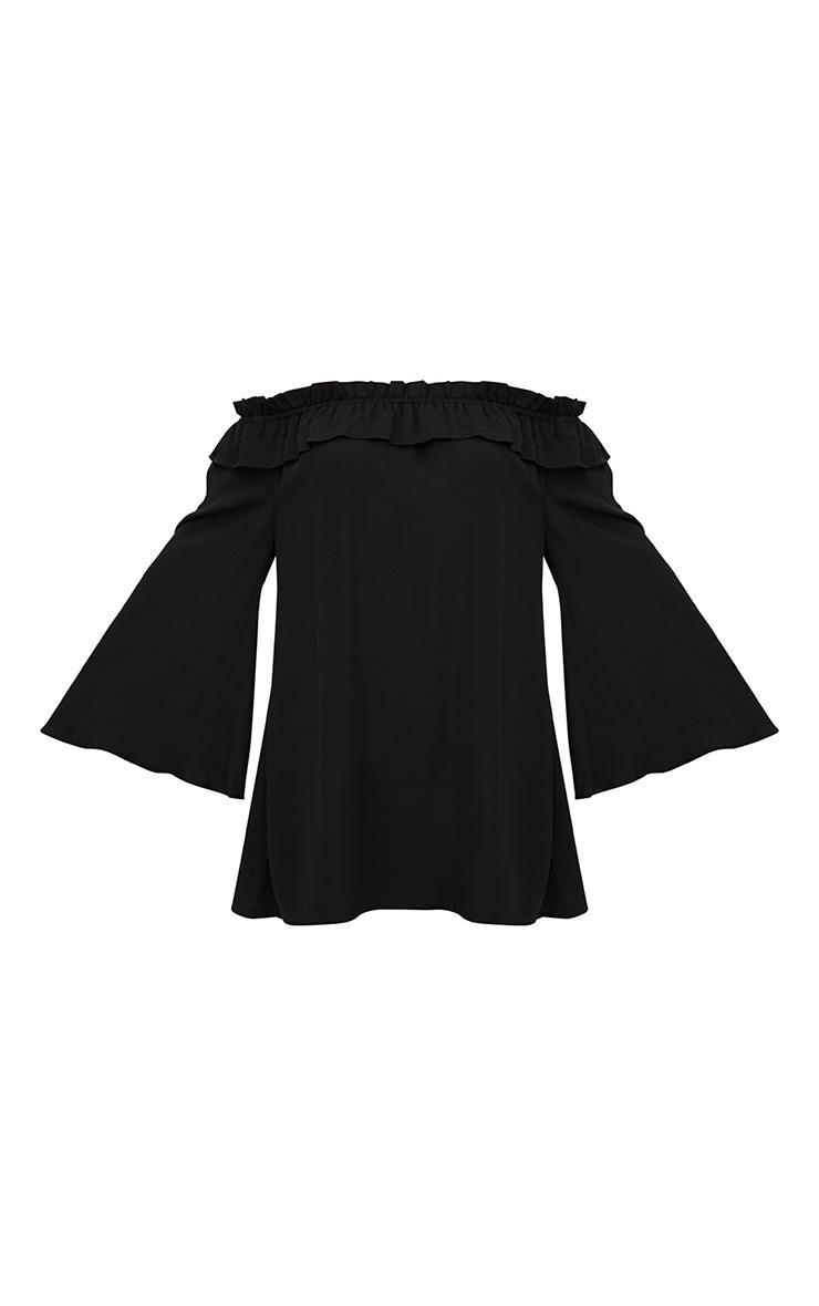 Black Bardot Long Sleeve Shift Dress 3