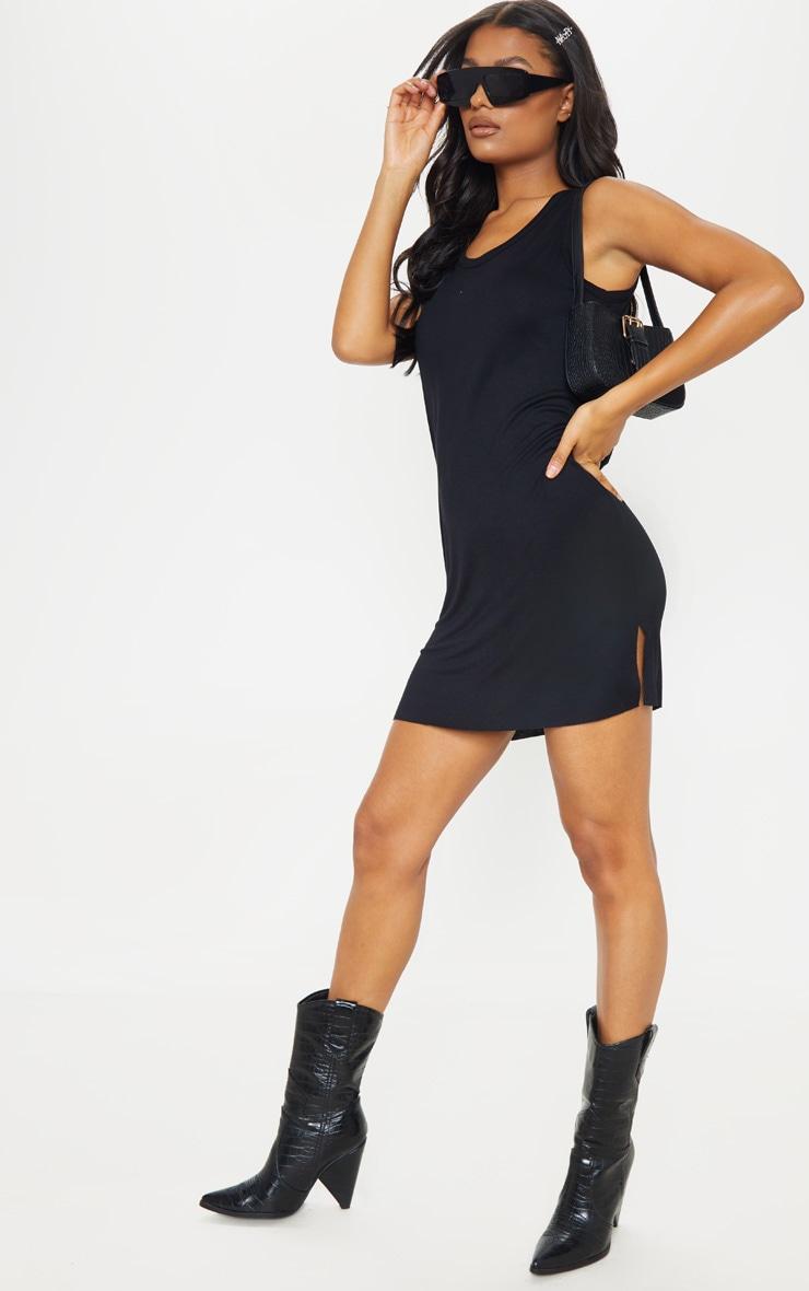 Black Sleeveless Raw Edge Split T Shirt Dress 1