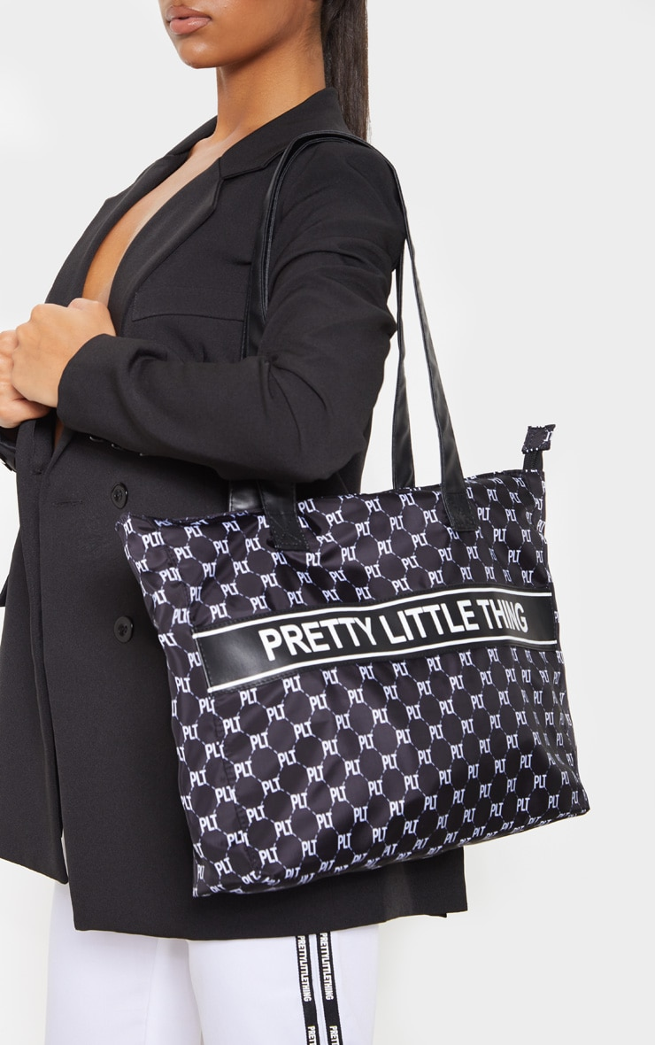 PRETTYLITTLETHING Monogram Monochrome Nylon Tote Bag 1
