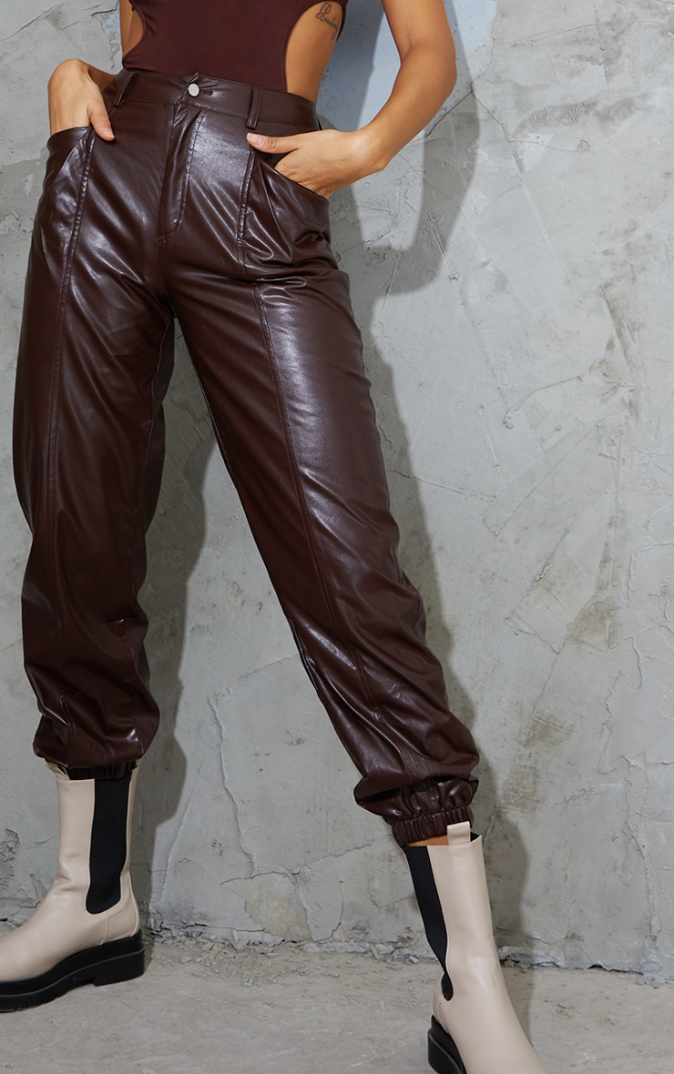 Chocolate Faux Leather Seam Detail Cuffed Pants 4