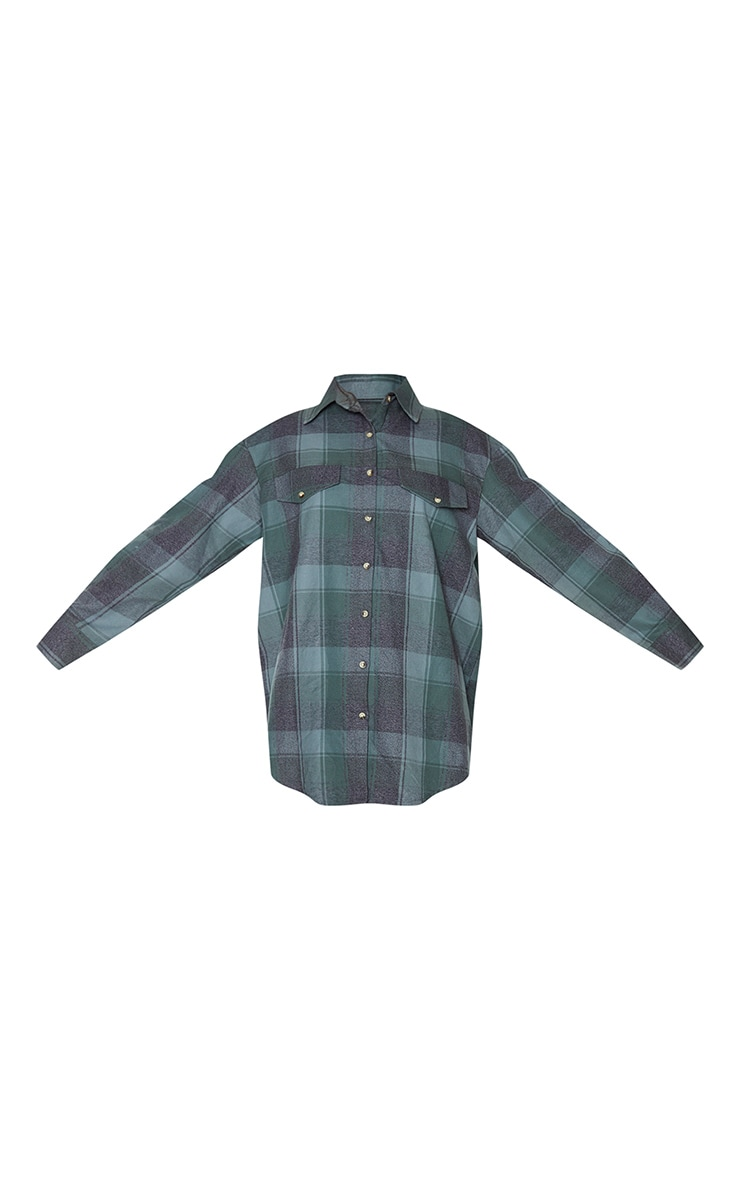 Sage Khaki Check Oversized Long Sleeve Dad Shirt 5