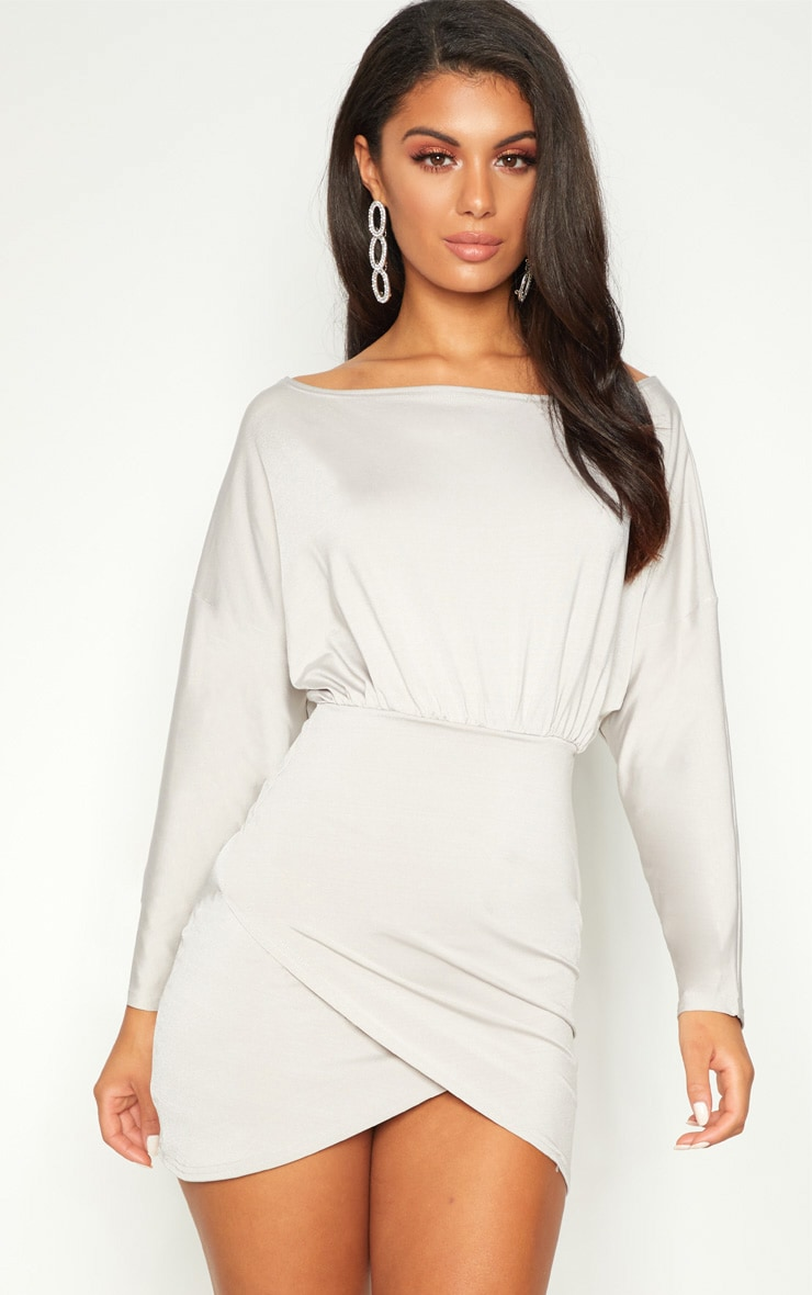 Ice Grey Disco Slinky Batwing Wrap Over Bodycon Dress