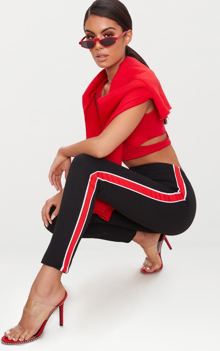 Red Side Stripe Stretch Leggings