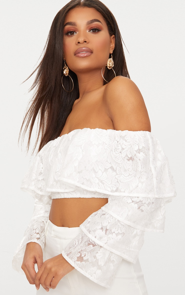 White Tiered Lace Frill Crop Top 2
