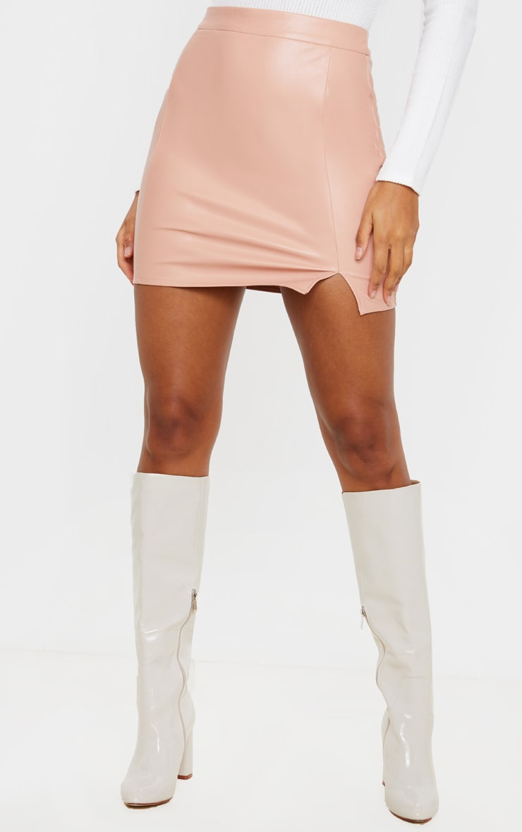 Blush Faux Leather Split Mini Skirt 2