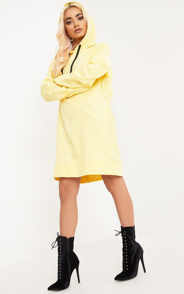 Anuliar Yellow Hooded Jumper Dress with Contrast Ties 4