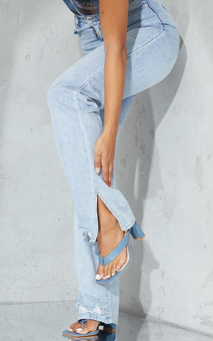 Blue Toe Thong High Flat Block Heel Mules 1
