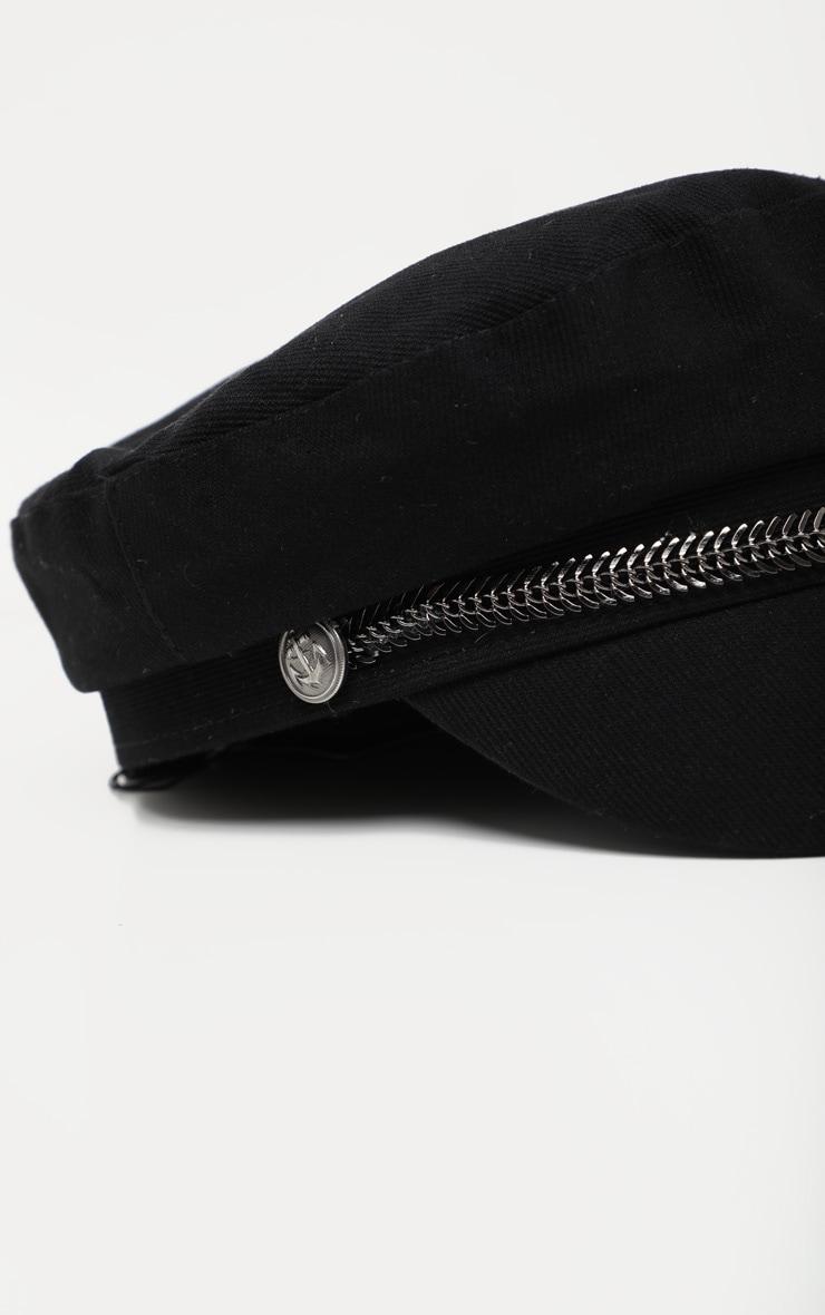 Black Baker Boy Hat With Gun Metal Grey Trim 4