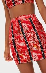 2b053a936 Red Oriental Jacqaurd Ring Detail Mini Skirt. Skirts | PrettyLittleThing