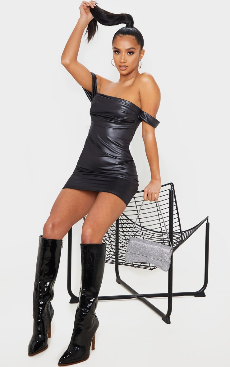 Petite Black Wet Look Mini Dress 4