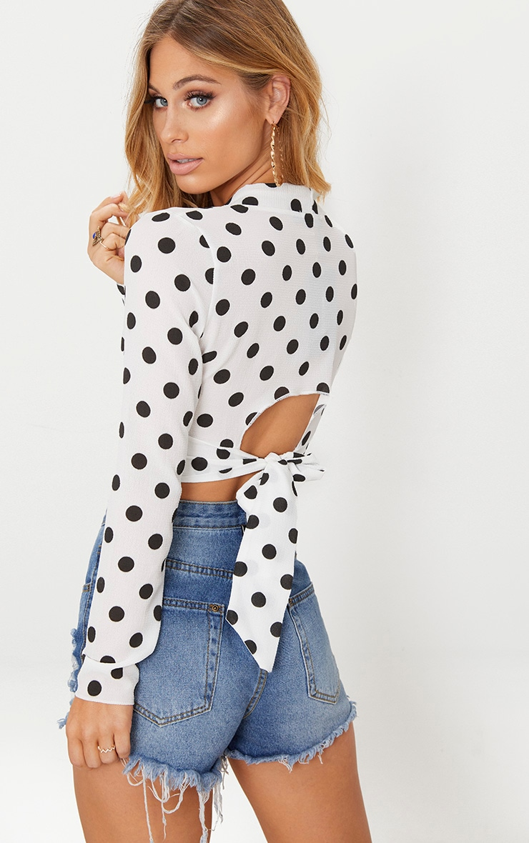 Cheap Marketable White Polka Dot Tie Back Crop Blouse Pretty Little Thing Discount Outlet Locations bpHqIyV