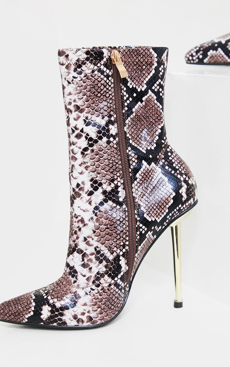 Brown Snake Metal Heeled Boots 4