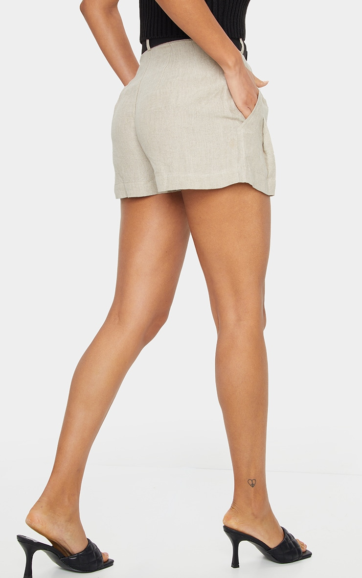Stone Linen Feel Belted Shorts 3