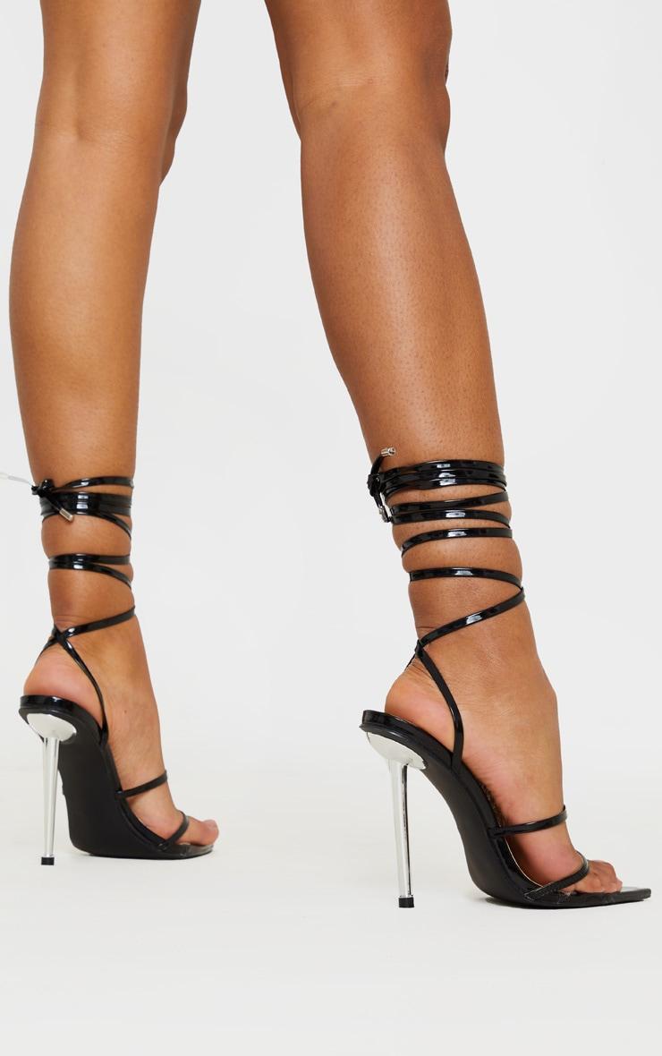 Black Toe Loop Metal Heel Sandals 2