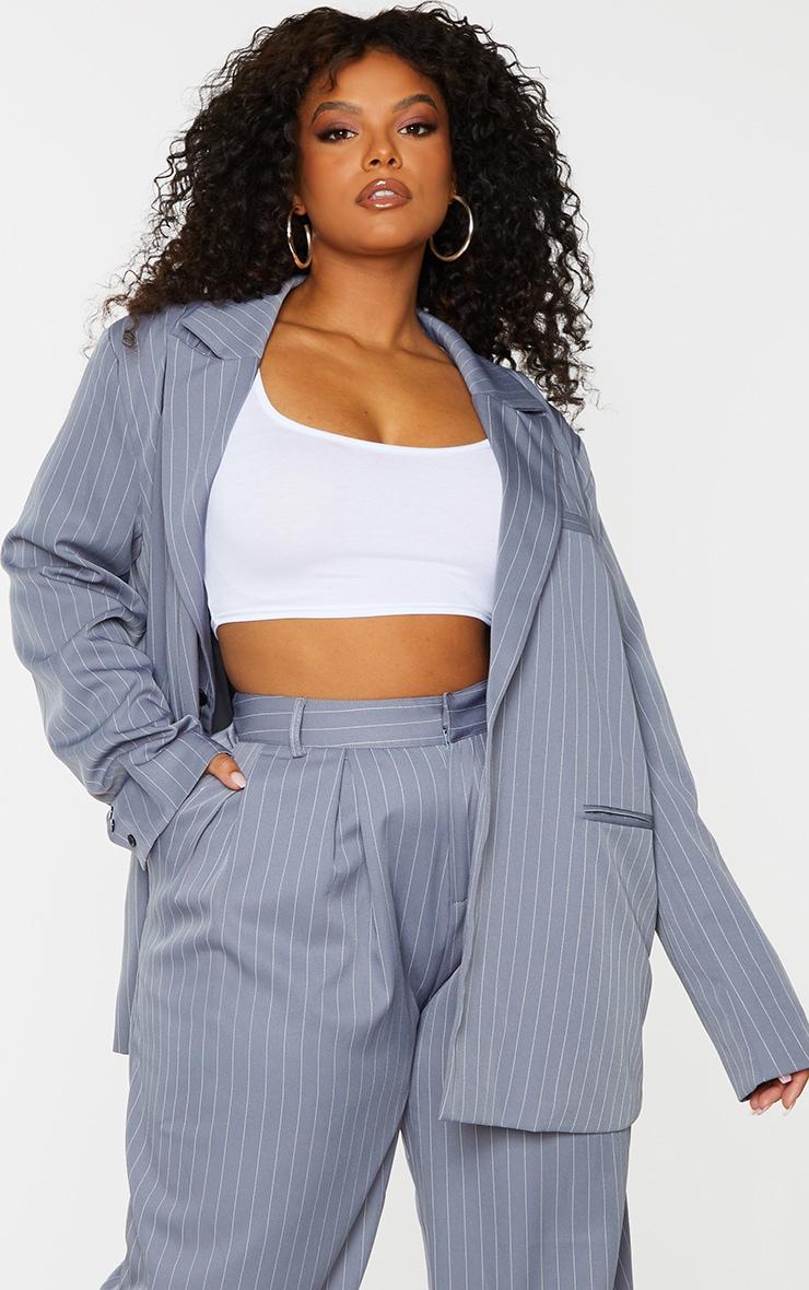 Plus Charcoal Grey Pinstripe Oversized Dad Blazer 1