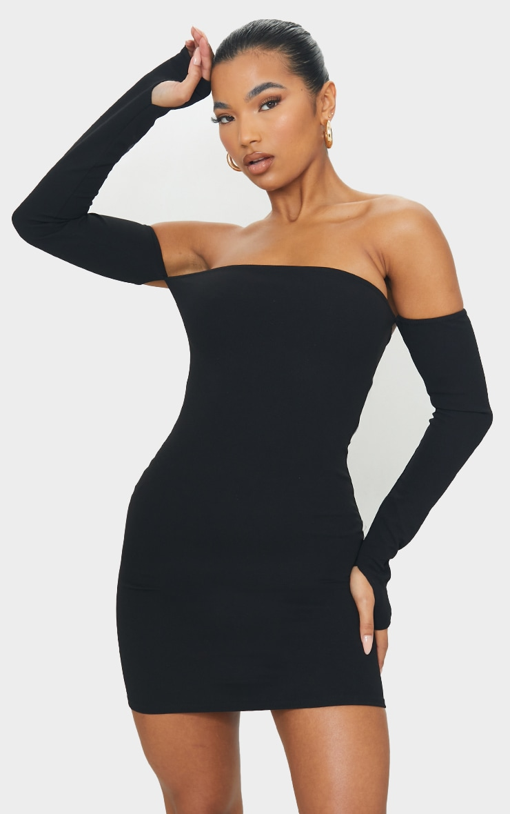 Black Bardot Thumbhole Bodycon Dress 1