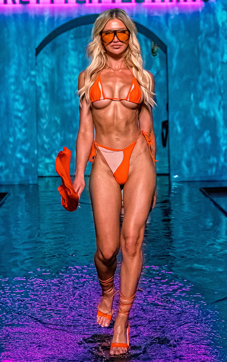 Orange Mesh Panel Bikini Bottoms 1