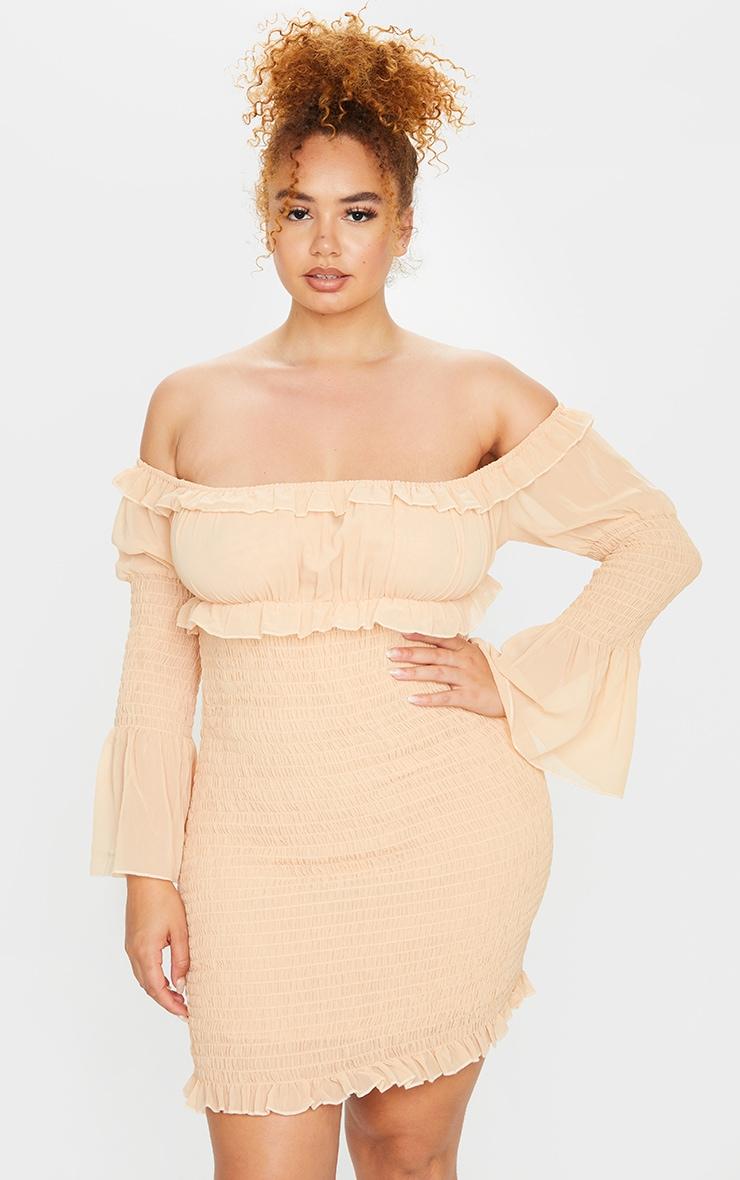 Plus Stone Chiffon Shirred Bodycon Dress 3