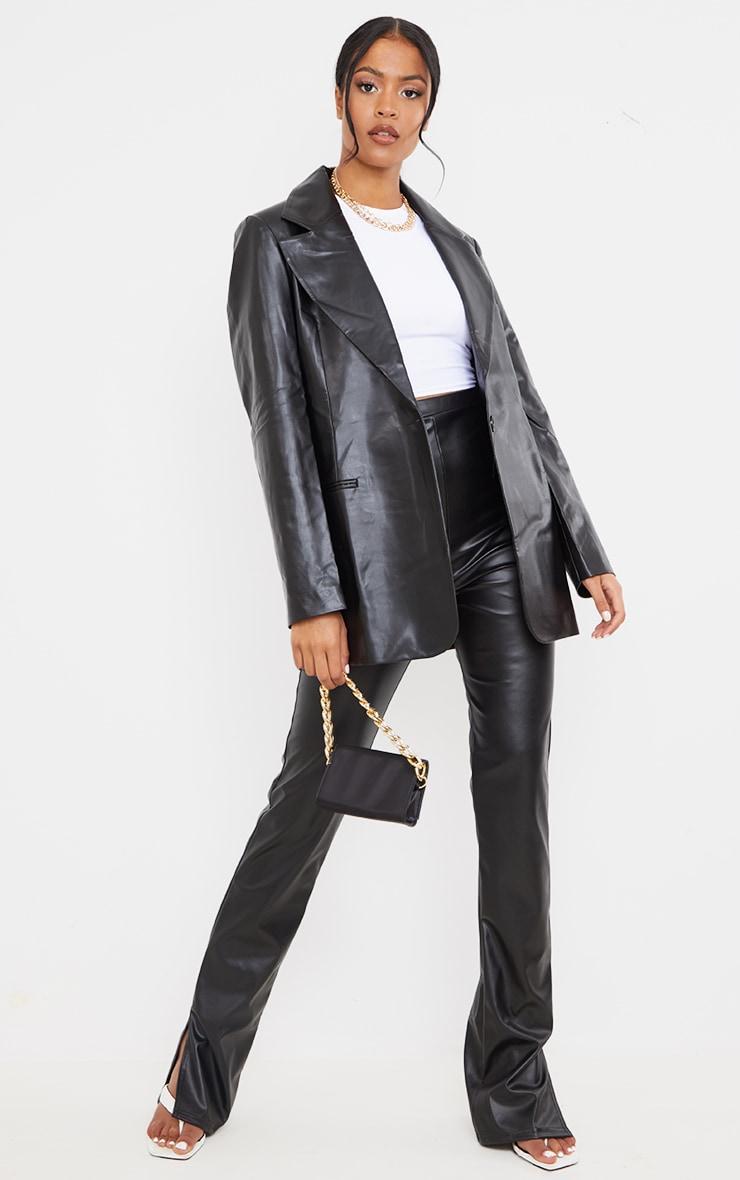 Tall Black Faux Leather Blazer 3