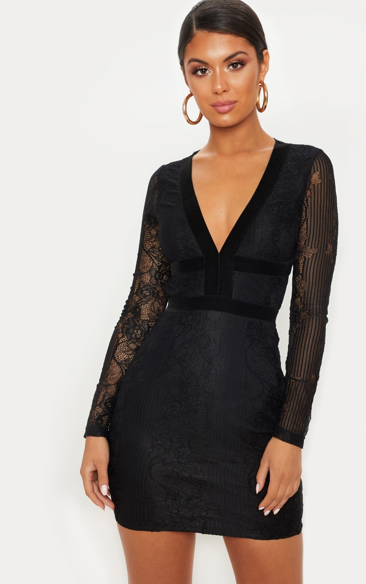 Black Lace Velvet Trim Open Back Bodycon Dress 2