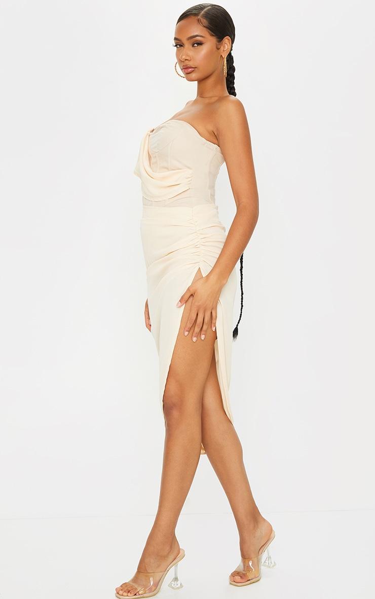 Nude Bandeau Chiffon Drape Detail Bandeau Midi Dress 3
