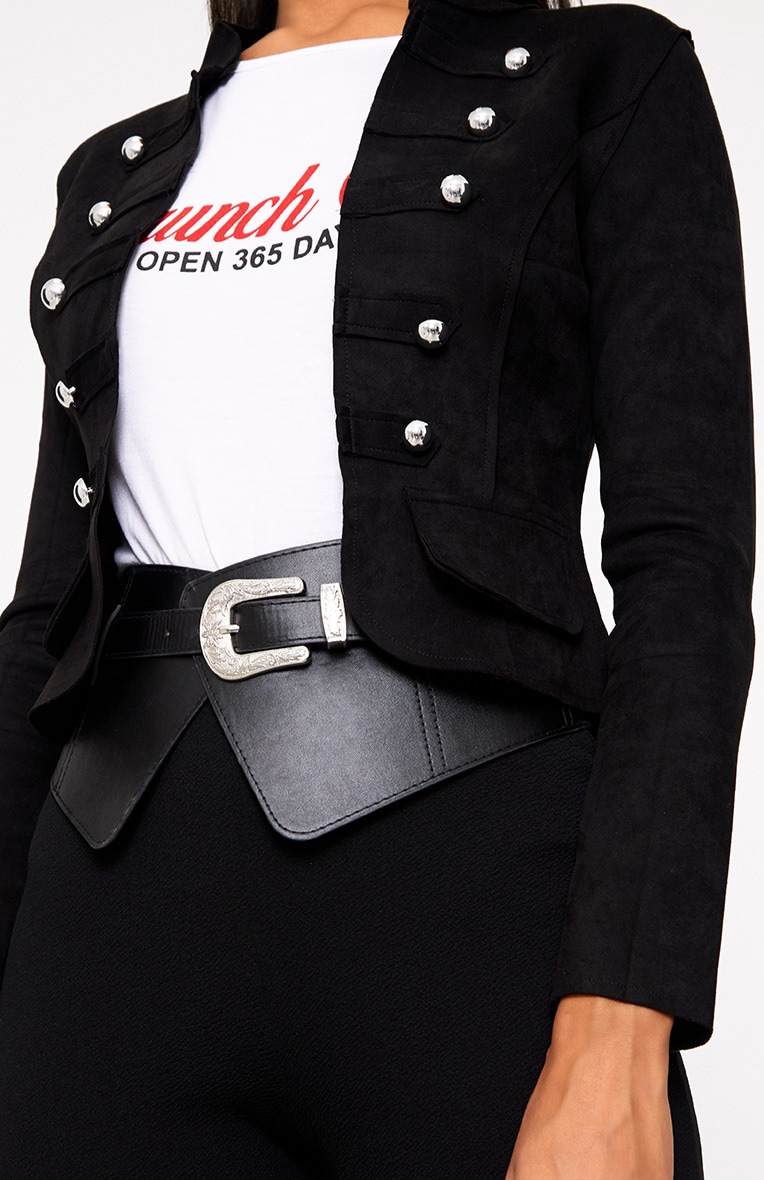Black Faux Suede Military Jacket 5