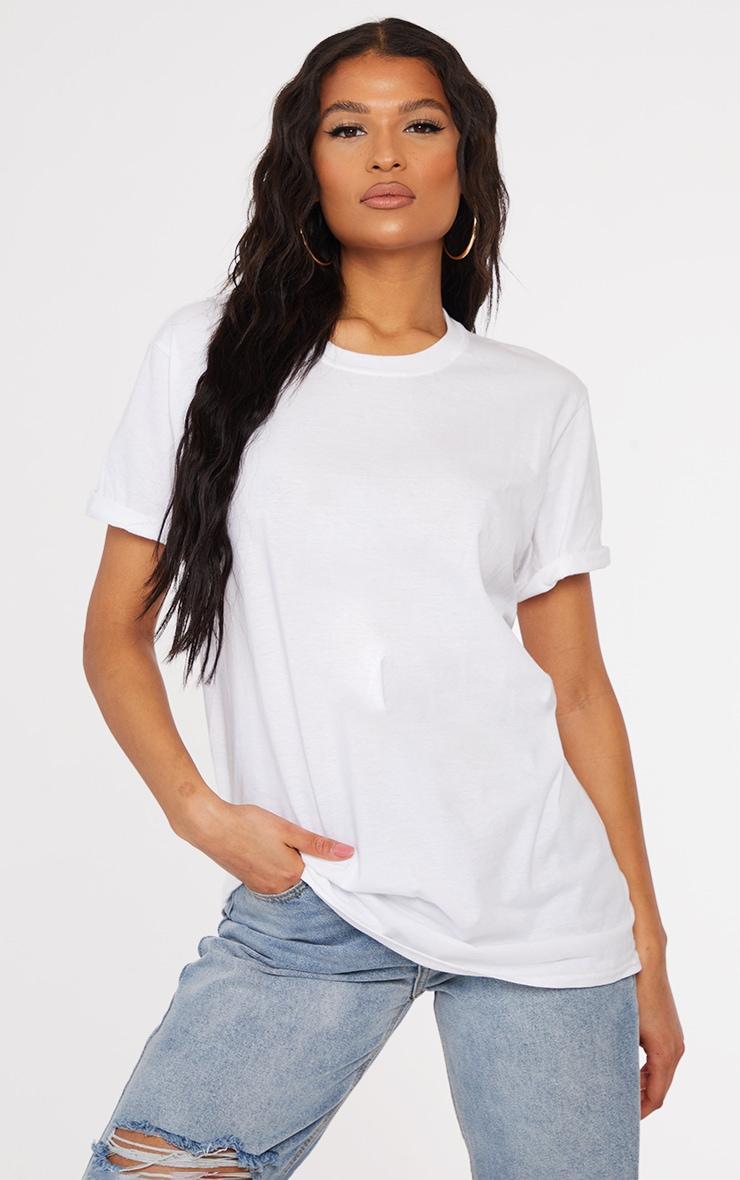 White Oversized Roll Sleeve Ultimate T Shirt 1