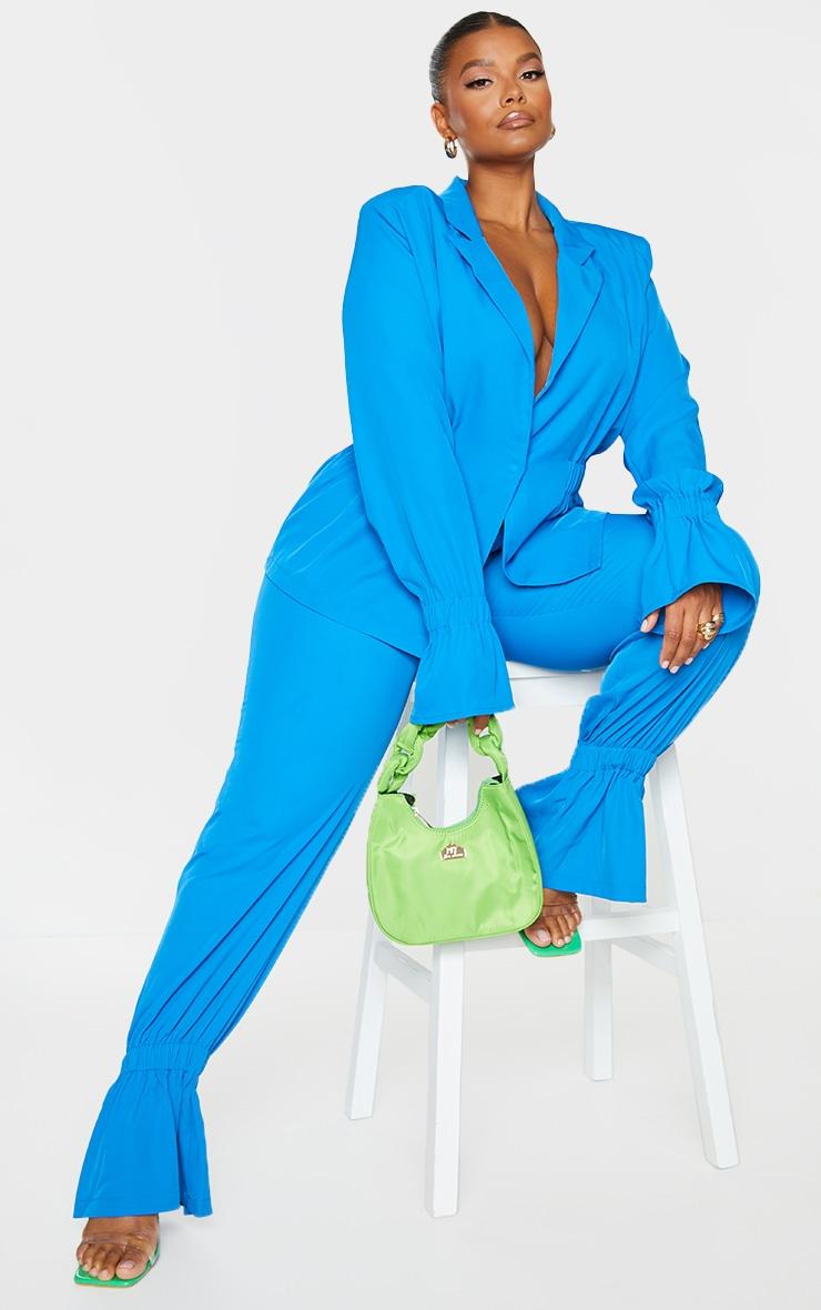 Plus Blue Oversized Elasticated Waist Woven Blazer 1