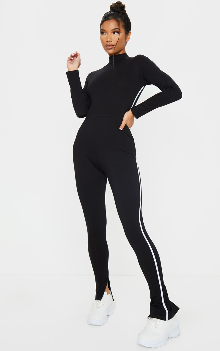 Black Sports Stripe High Neck Jumpsuit 3