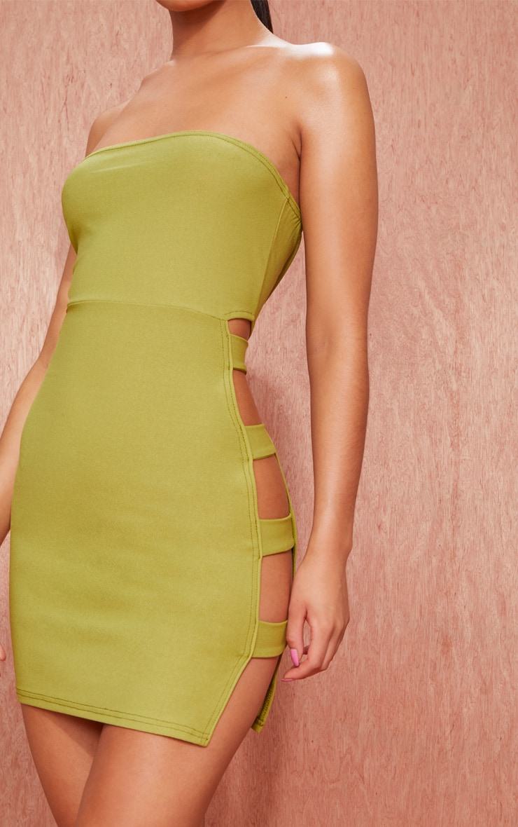 Olive Green Bandeau Strappy Side Bodycon Dress 4