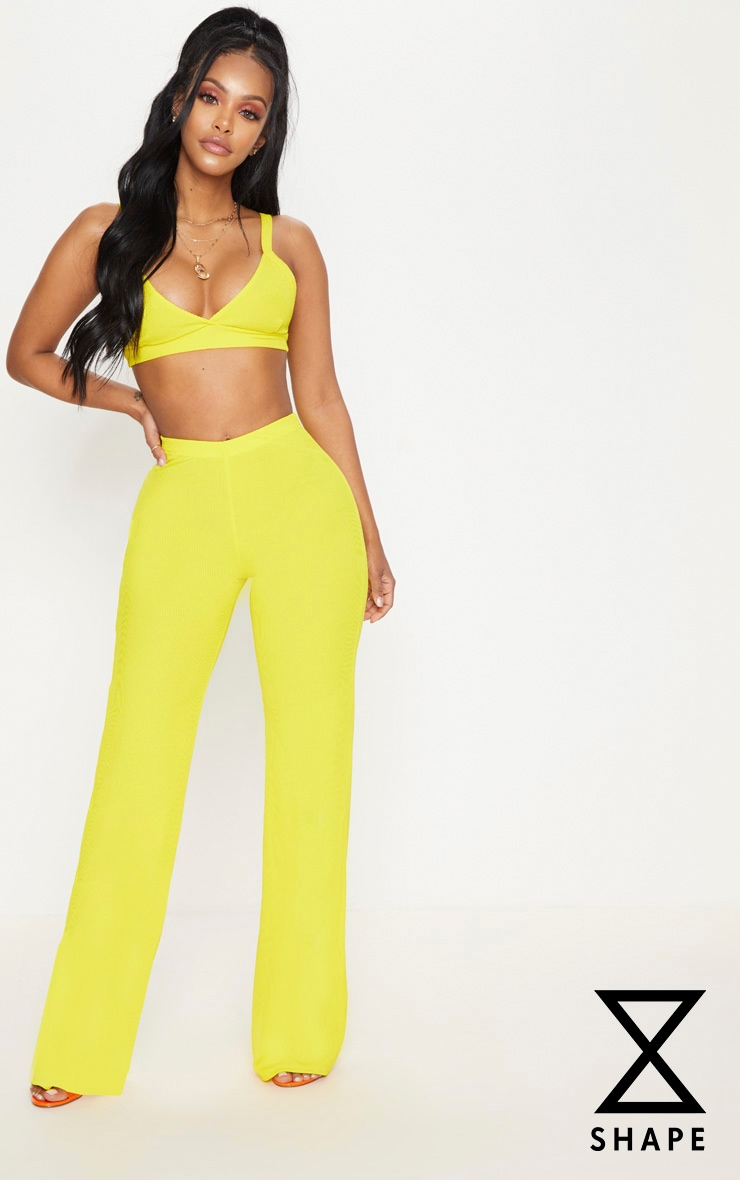 Shape Yellow Ribbed Wide Leg Trousers
