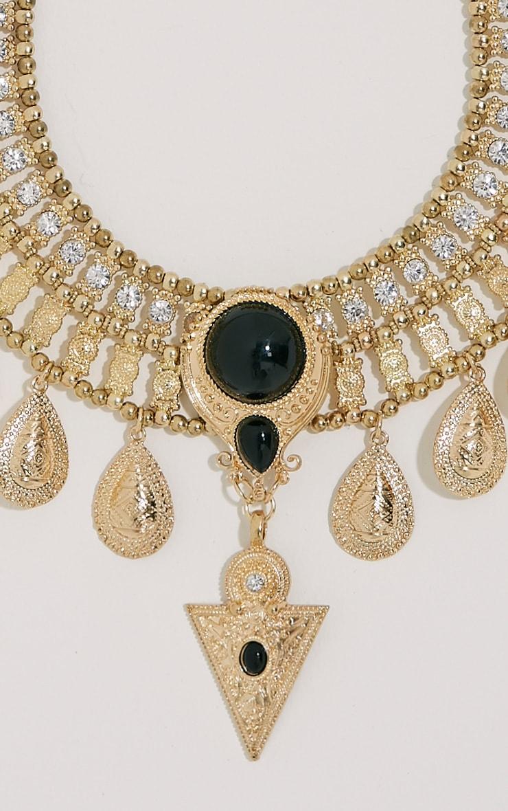 Rosina Gold Chunky Embellished Bib Necklace 2