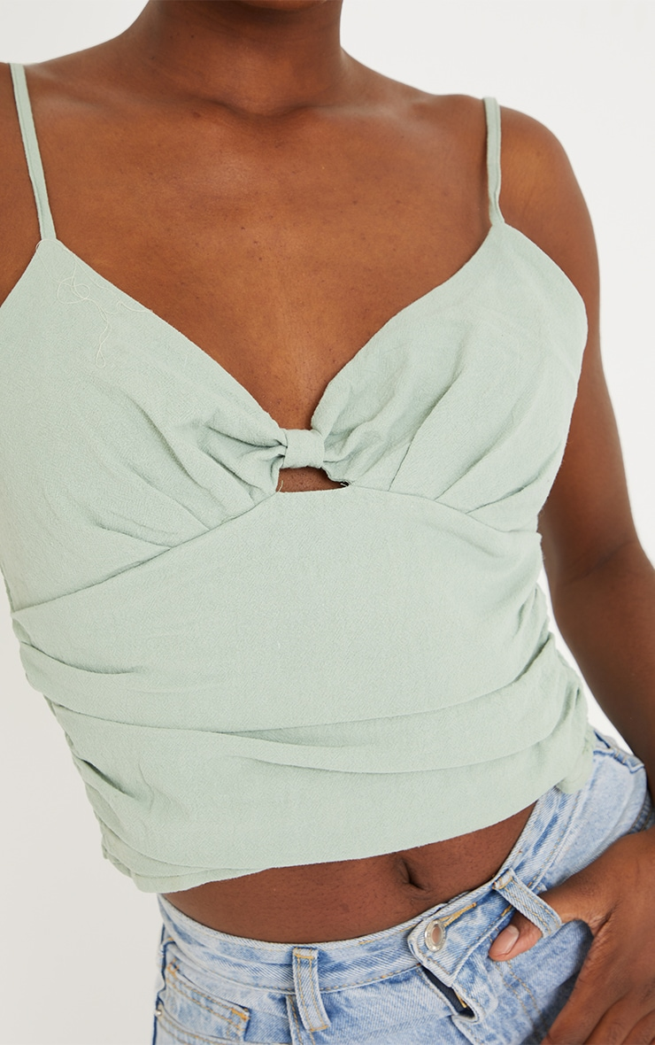 Tall Sage Green Knot Front Linen Feel Mix Strappy Top 4