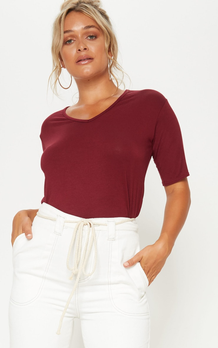 Basic Maroon V Neck T Shirt 4