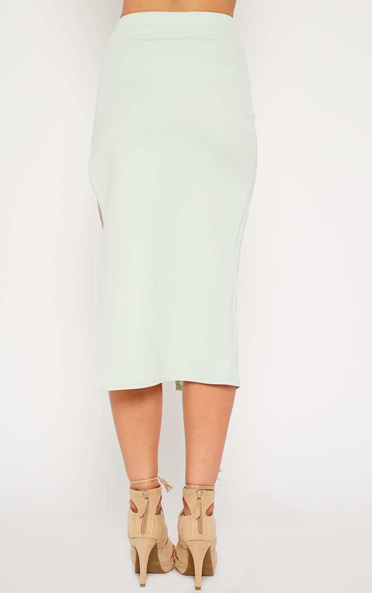 Savina Mint Side Split Midi Skirt 4