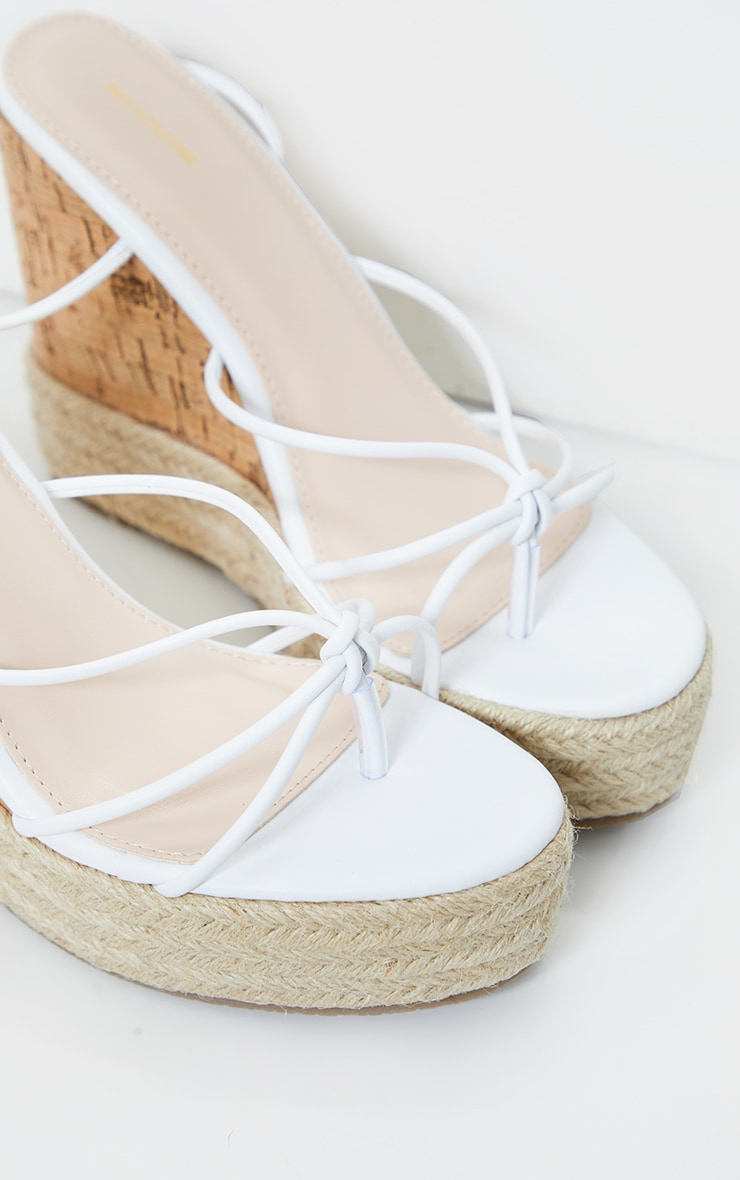 White Toe Thong Strappy Espadrille Wedges 2