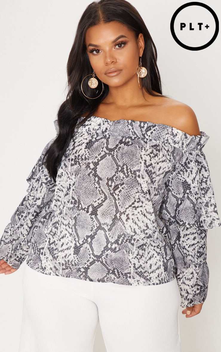 Plus Grey Snake Print Ruffle Bardot Top
