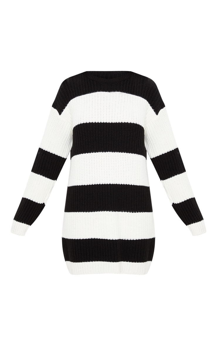 Monochrome Stripe Sweater Dress 4