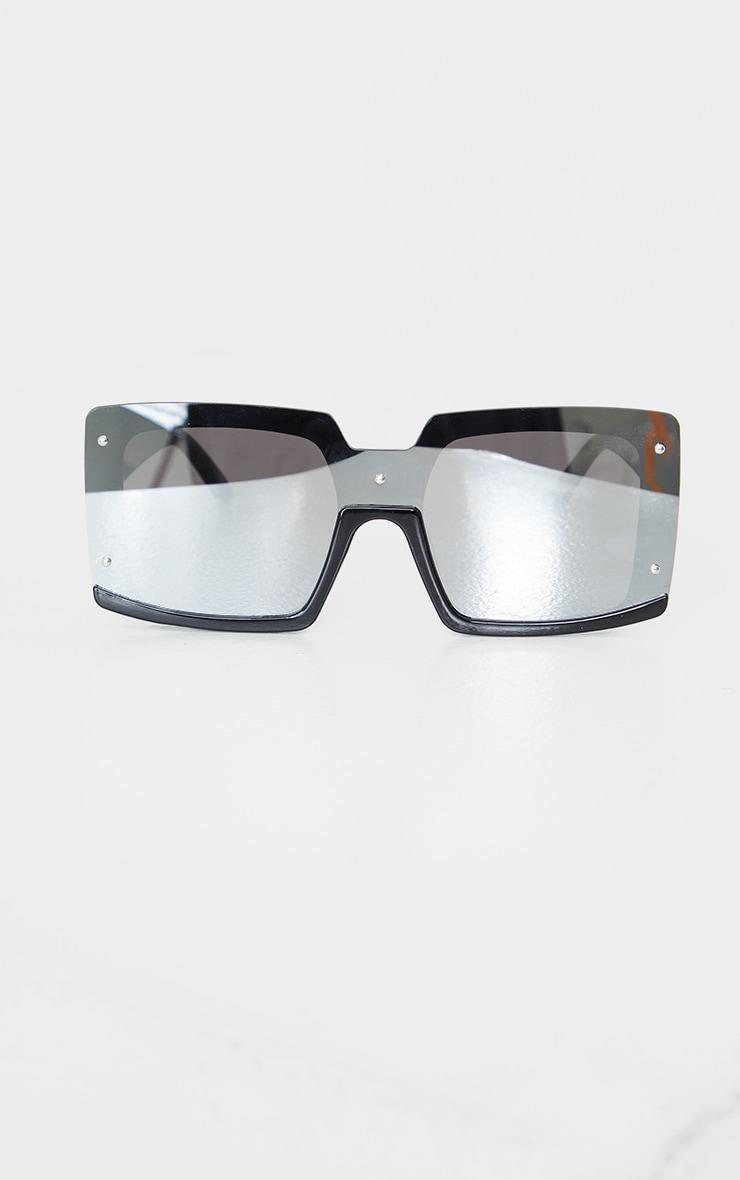 Black Revo Effect Oversized Square Frameless Sunglasses 2
