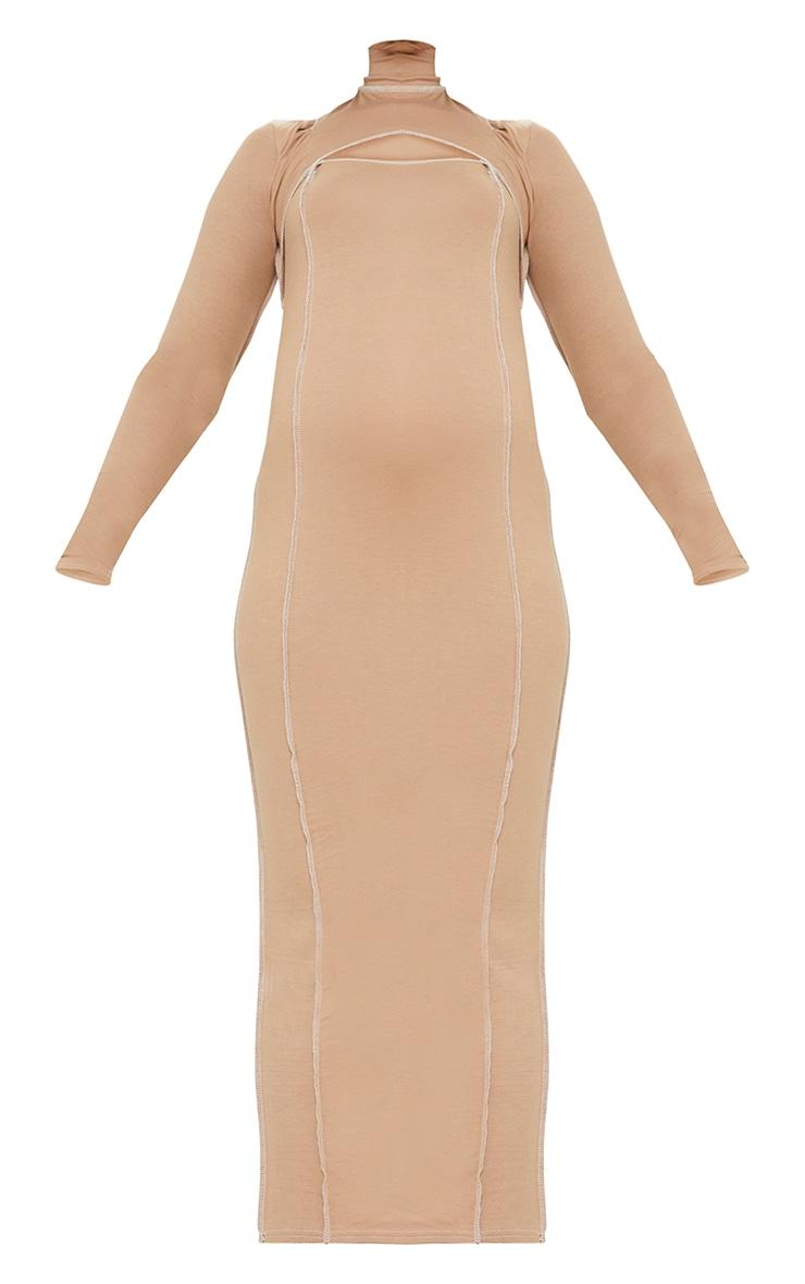 Maternity Camel Cut Out Midi Dress 5