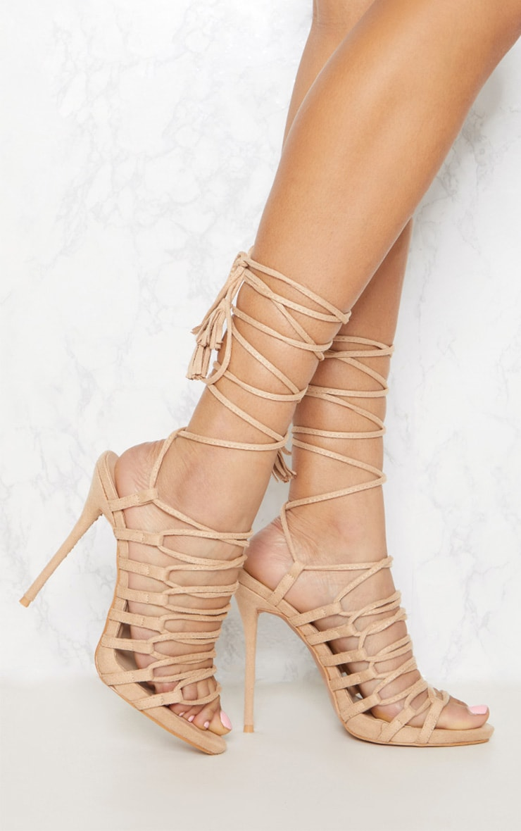 Nude Strappy Ghillie Tie Sandal